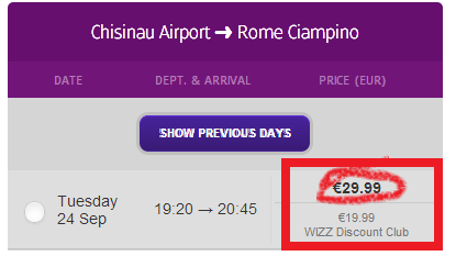 Zboruri low-cost mai mari cu 10€ pentru non-membrii clubului Wizz Air