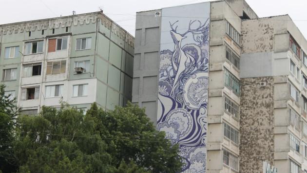 O nouă pictură murală în sectorul Botanica realizată de artiștii polonezi