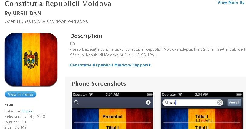 Constituţia Republicii Moldova disponibilă pe AppStore