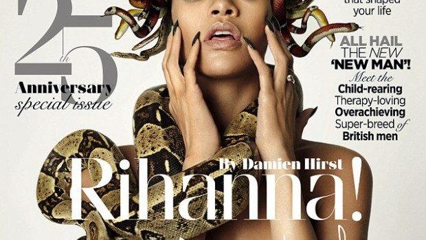 (foto) Rihanna goală și cu un cuib de șerpi de cap pe coperta aniversară GQ