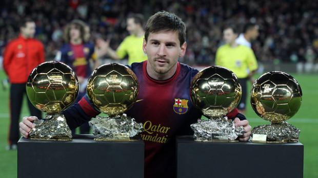 Messi cu recordul său de 4 Baloane de Aur consecutive. PC: fcbarcelona.com