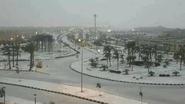 Prima ninsoare în Cairo, după 112 ani