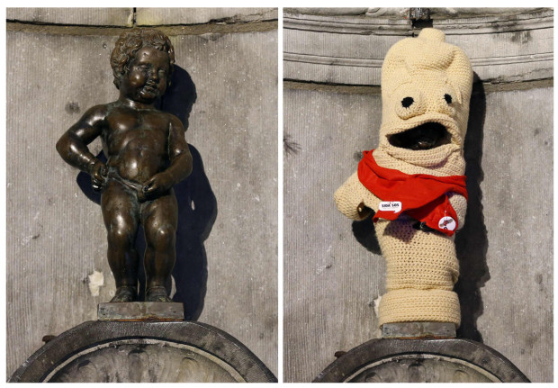 Combo picture shows the famous Belgian statue Manneken Pis before and after being dressed as a condom during an event marking World AIDS Day in central Brussels