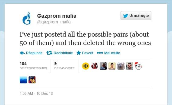 Postarea pe Twitter, a utiliztorului @gazprom_mafia. PC: twitter.com/gazprom_mafia/