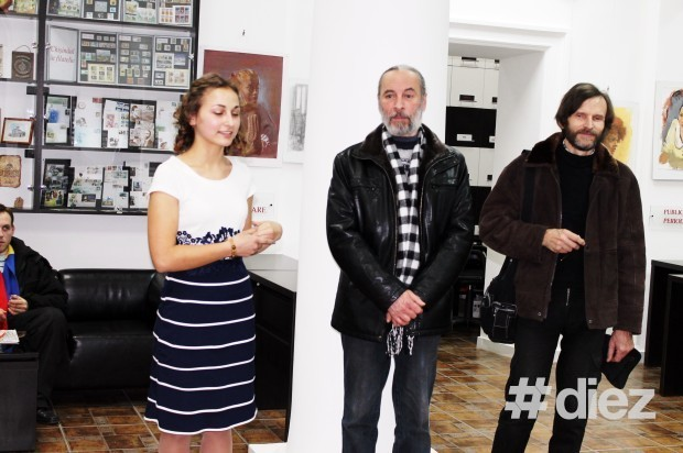 Mihaela Motruc și profesorul de pictură Anatol Mocanu