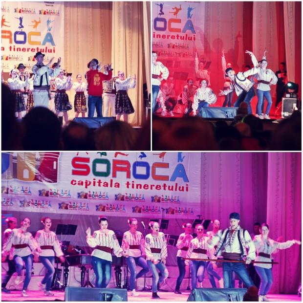Tinerii din Colegiul de Arte din Soroca au prestat un dans popular cu elemente de teatru. PC: Lilian Muntean