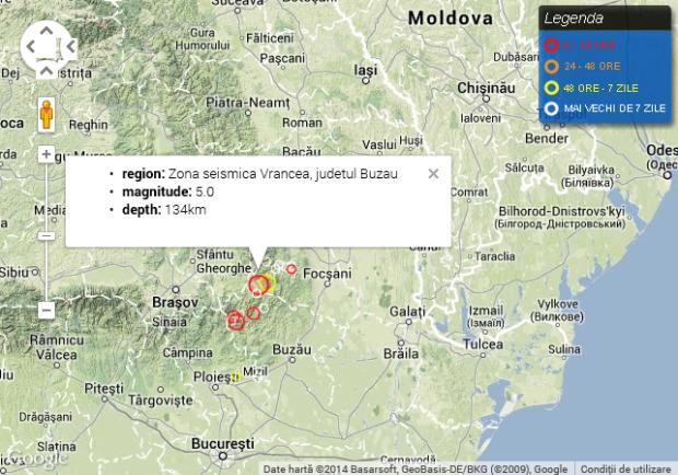 Cele mai recente activități seismice din regiune. PC: infp.ro