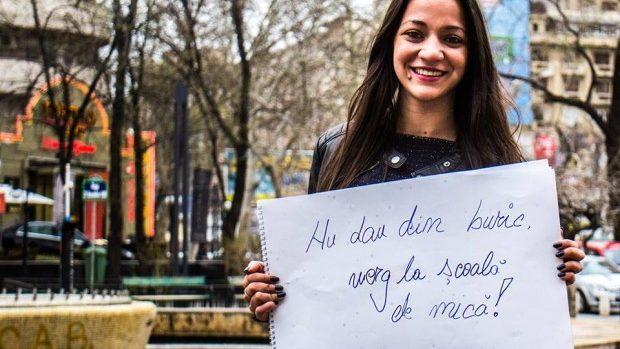 """(foto) O campanie de Ziua Internaţională a Romilor – """"Nu dau din buric, merg la școală de mică"""""""