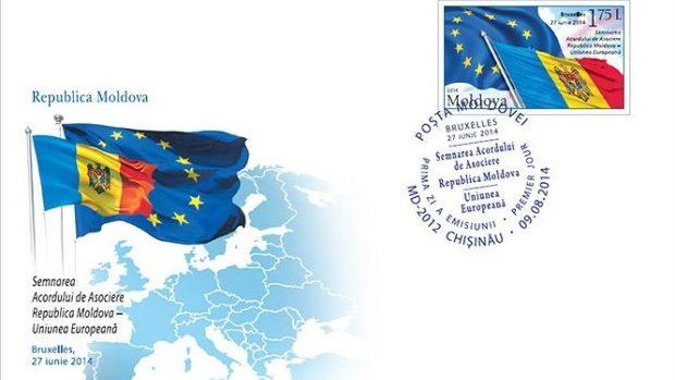 Marcă poștală dedicată Semnării Acordului de Asociere între Republica Moldova și UE