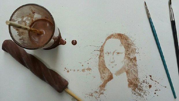 (foto) Artistul care pictează cu înghețată în loc de vopsele