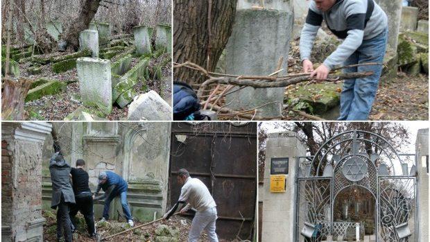 (foto) Trecutul uitat în timp: Acțiune de salubrizare a cimitirului evreiesc
