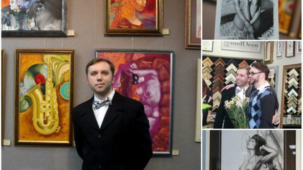 """(foto) Artistul Adrian Moraru și-a prezentat cele """"33 de stări"""" la expoziția sa personală de pictură"""