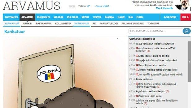 (foto) Vectorul ales de Moldova la alegeri într-o caricatură a unui ziar din Estonia