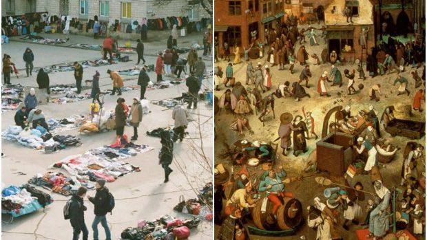 (foto) Asemănarea dintre piața improvizată de la Gara Feroviară și un tablou de Pieter Bruegel