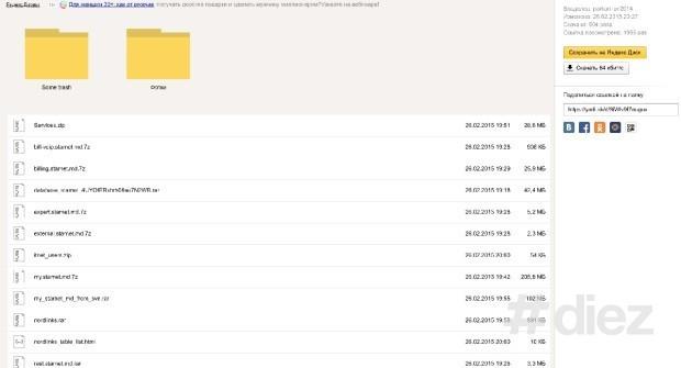 Fișierele cu toată informația au fost plasate pe Yandex Disk (cloud rusesc)