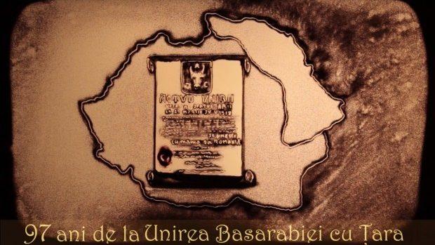(video) 97 de ani de la unirea Basarabiei cu România, redați pe nisip de artista Ana Munteanu