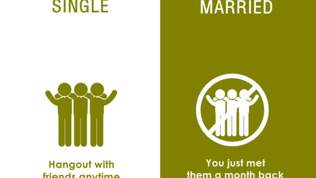 (foto) Diferențe amuzante dintre persoanele burlace și cele căsătorite