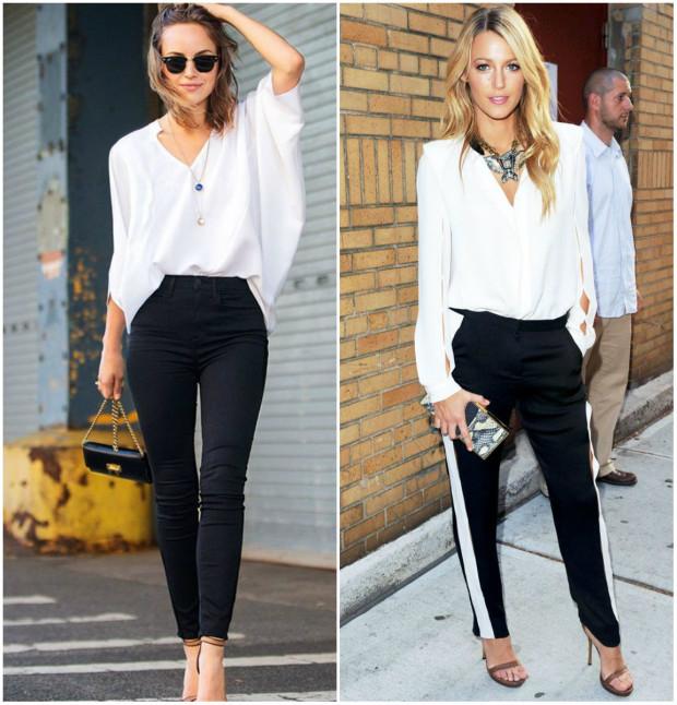 Cămașă albă și pantaloni negri