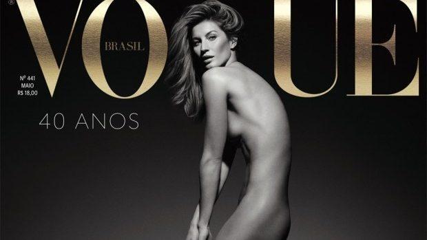 """(foto) Gisele Bundchen în pielea goală pe coperta revistei """"Vogue"""" Brazilia"""