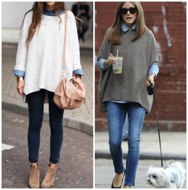 Cămașă din denim și pulover gros