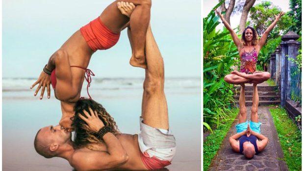 (foto) Cuplul care practică yoga în cele mai frumoase locuri din lume