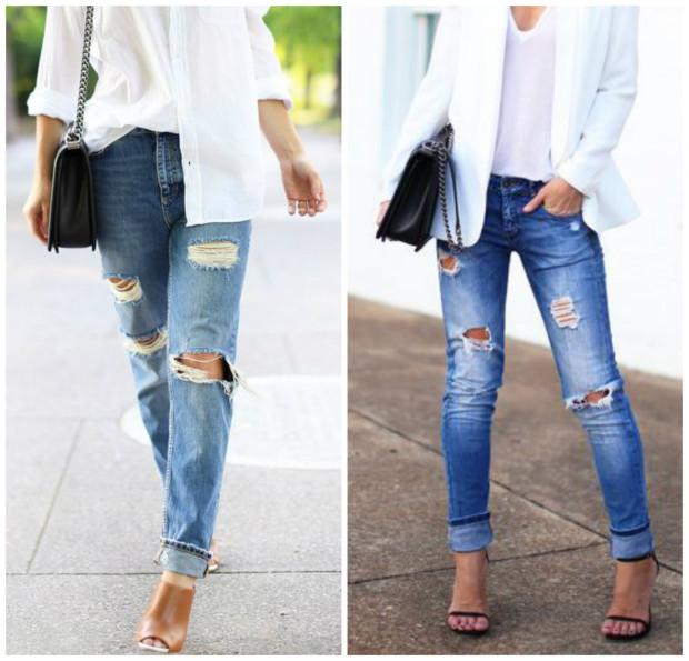 Bluză albă și boyfriend jeans