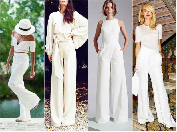 Pantaloni albi evazați
