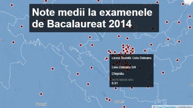 (infografic) BAC 2015: Nota medie la examene a fiecărui liceu din Moldova în 2014
