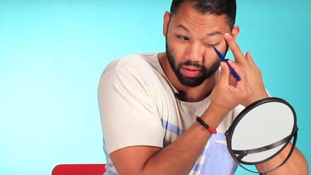 (video) Experiment: Bărbații încearcă să se machieze cu un un contur lichid pentru ochi