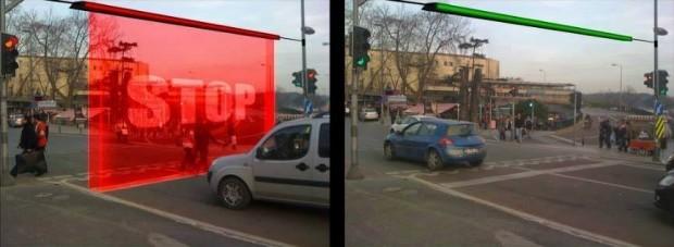 (foto) Conceptul de perete virtual care nu permite șoferilor să treacă la culoarea roșie a semaforului