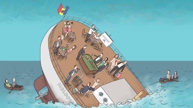 """(foto) Ilustrație de Alex Buretz – în timp ce Corabia """"Moldova"""" se scufundă, oligarhii se distrează"""
