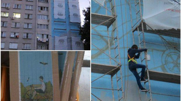 (foto) La ce etapă se află pictura murală din sectorul Botanica