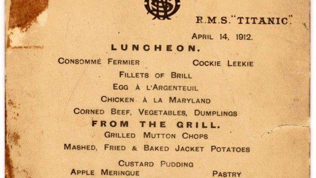(video) Meniul folosit pentru ultimul prânz servit pe Titanic a fost vândut cu 88.000 de dolari