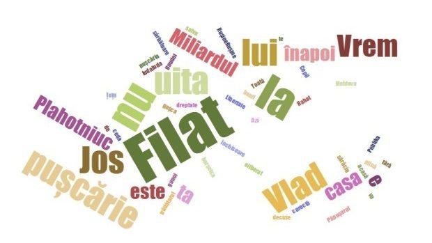 Lista lozincilor pro și contra lui Filat, scandate în fața Judecătoriei Buiucani