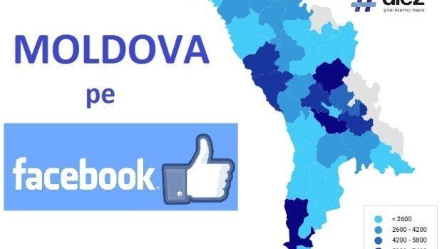 (grafic) Topul raioanelor din Moldova după numărul de utilizatori Facebook