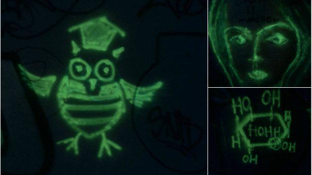 (foto) Desene fosforescente în subterana de lângă Academia de Științe