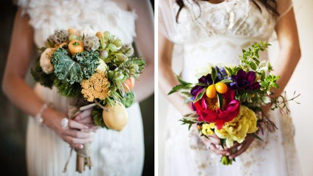(foto) Nouă tendință la nunți: Legume în buchetul miresei