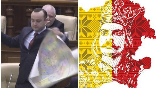Unioniștii protestează împotriva lui Dodon, după ce a fost ruptă Harta României Mari în Parlament