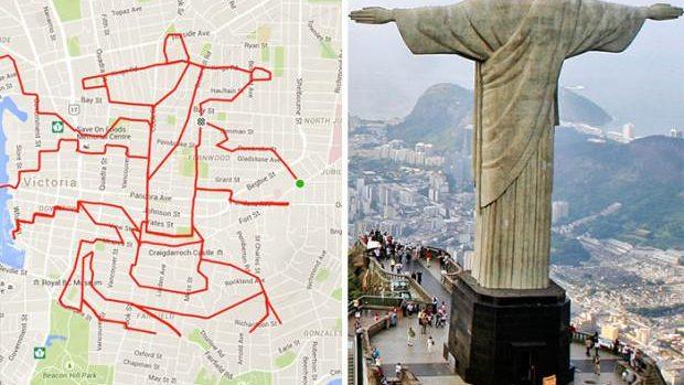 (foto) Un artist a desenat cele mai mari caricaturi existente, plimbându-se cu bicicleta