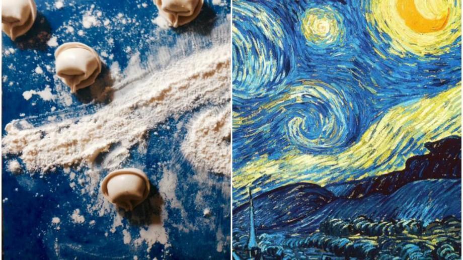 (foto) O tânără din Moldova a recreat un tablou de Van Gogh în timp ce făcea mâncare