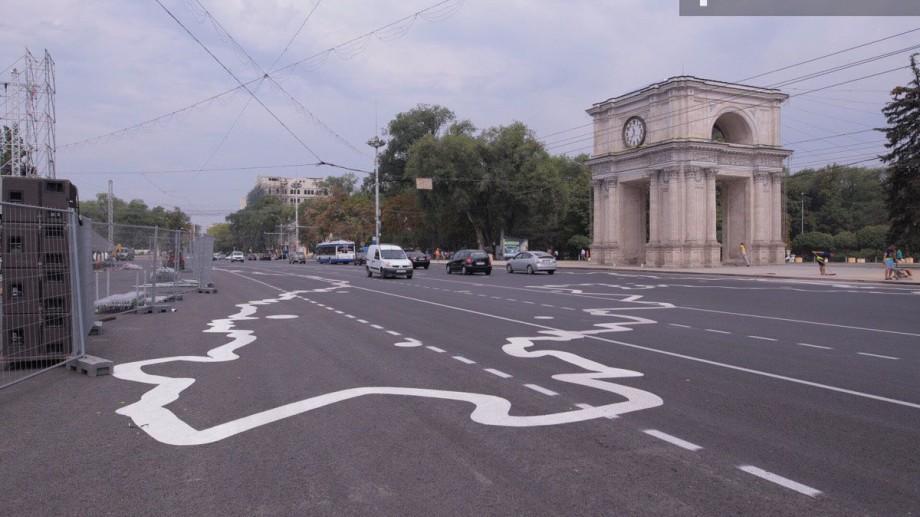 (foto) Marcajul temporar din centrul Chișinăului a fost acoperit de Harta Moldovei