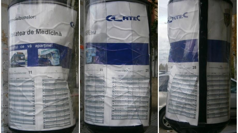 """(foto) Panoul rotativ-informativ din staţia """"Universitatea de Medicină"""" a fost deteriorat"""