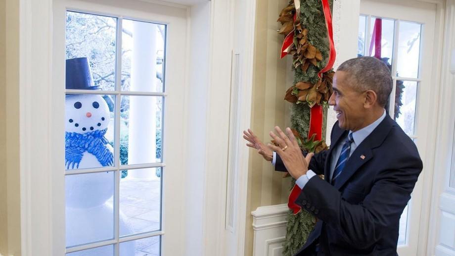 (foto) Personalul de la Casa Albă i-a făcut lui Obama o farsă cu oameni de zăpadă