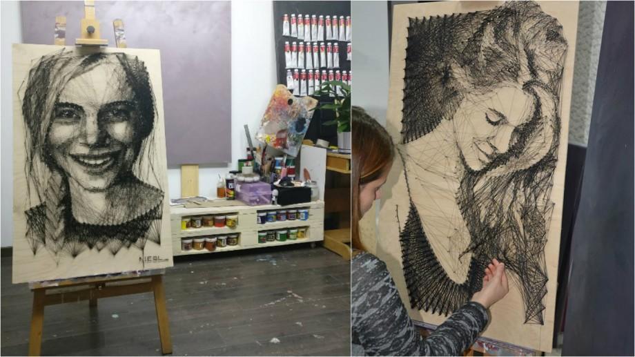 (foto, video) Nicoleta Vacaru, tânăra care realizează tablouri din sute de metri de ață și cuie