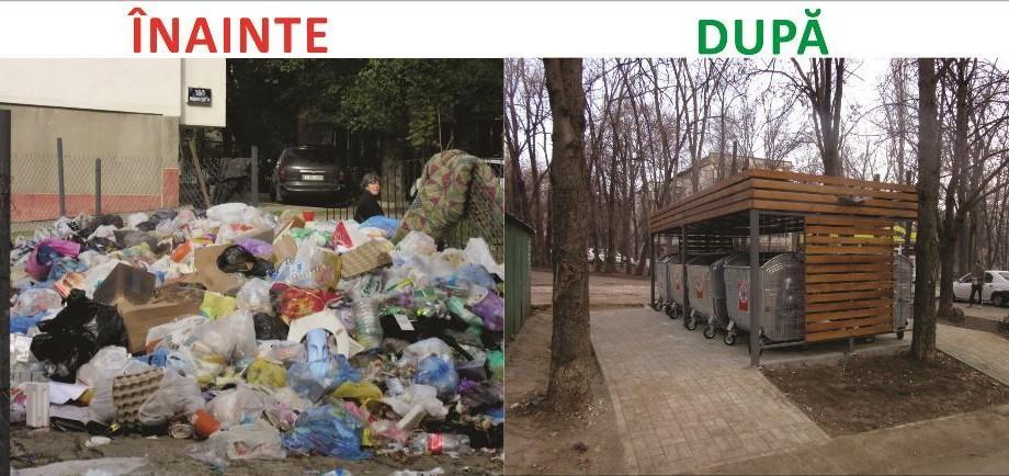 (foto) Înainte și după. Cum a fost reamenajată o platformă de colectare a deșeurilor din sectorul Rîșcani