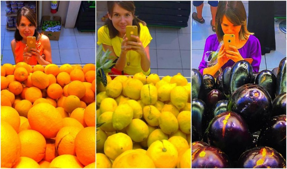 (foto) Tânăra din Moldova care își asortează îmbrăcămintea cu fructele și legumele pe care le cumpără
