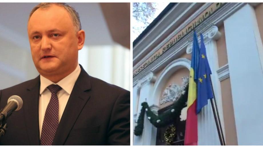 """Igor Dodon comentează scoaterea drapelului UE: """"De ce să nu fie instalat și drapelul CSI-ului?"""""""