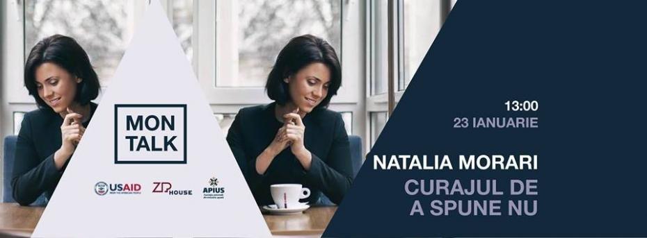 Participă la «MON TALK», un eveniment cu Natalia Morari, despre curajul de a spune nu