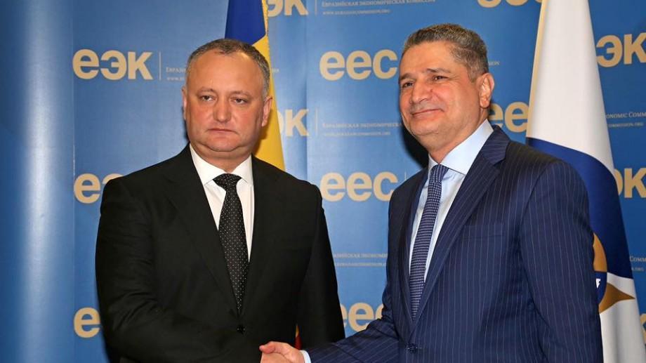 Dodon a discutat la Moscova despre foaia de parcurs pentru integrarea în Uniunea Euroasiatică