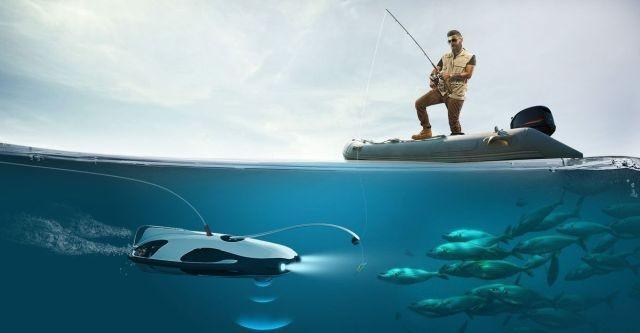 Drona-pescar care poate filma la calitate 4K sub apă